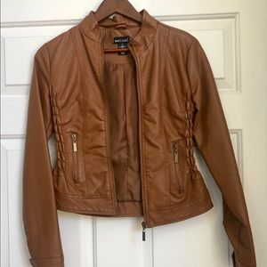 Wet Seal Tan Pleather Jacket W/Lining Small